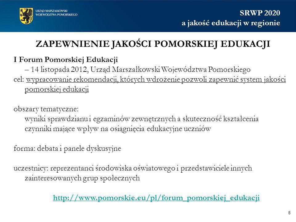 ZAPEWNIENIE JAKOŚCI POMORSKIEJ EDUKACJI 8 I Forum Pomorskiej Edukacji – 14 listopada 2012, Urząd Marszałkowski Województwa Pomorskiego cel: wypracowan