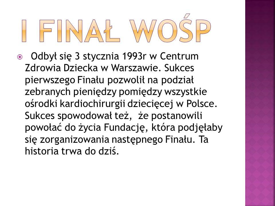 Odbył się 3 stycznia 1993r w Centrum Zdrowia Dziecka w Warszawie. Sukces pierwszego Finału pozwolił na podział zebranych pieniędzy pomiędzy wszystkie
