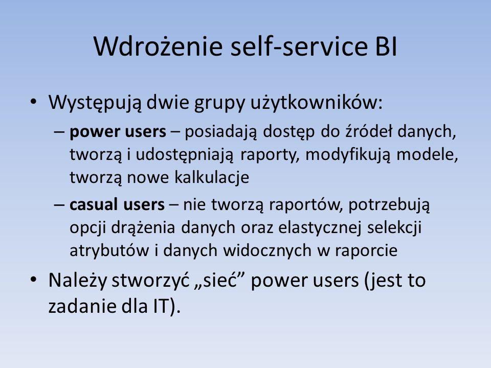 Wdrożenie self-service BI Występują dwie grupy użytkowników: – power users – posiadają dostęp do źródeł danych, tworzą i udostępniają raporty, modyfik