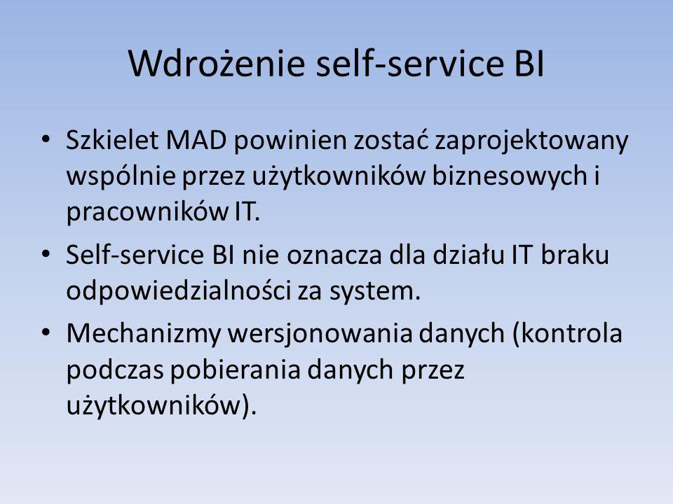 Wdrożenie self-service BI Szkielet MAD powinien zostać zaprojektowany wspólnie przez użytkowników biznesowych i pracowników IT. Self-service BI nie oz