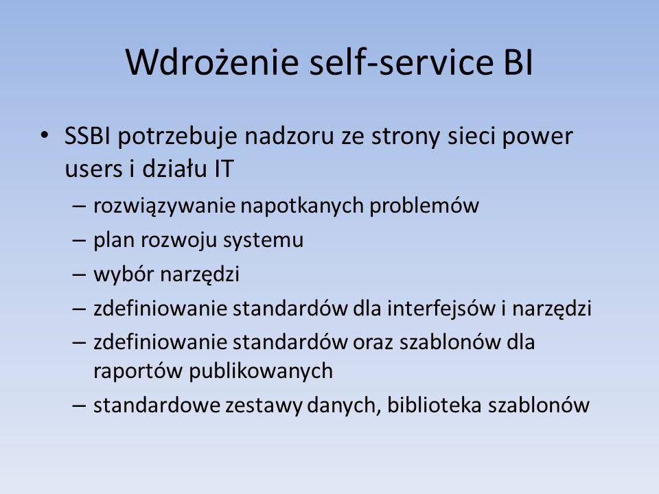 Wdrożenie self-service BI SSBI potrzebuje nadzoru ze strony sieci power users i działu IT – rozwiązywanie napotkanych problemów – plan rozwoju systemu