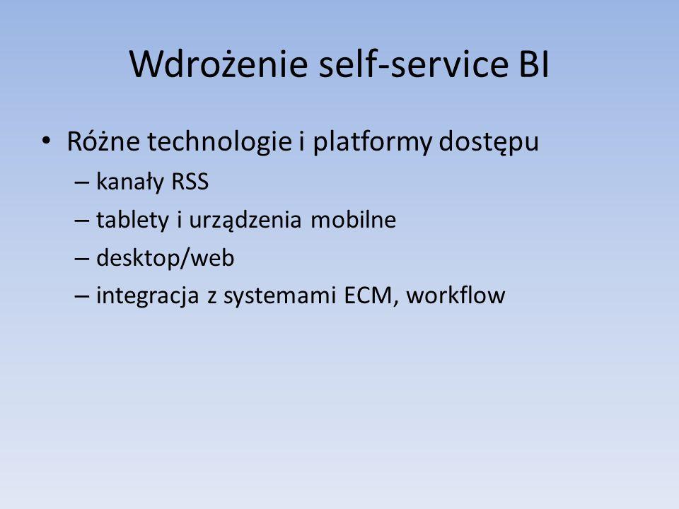 Wdrożenie self-service BI Różne technologie i platformy dostępu – kanały RSS – tablety i urządzenia mobilne – desktop/web – integracja z systemami ECM