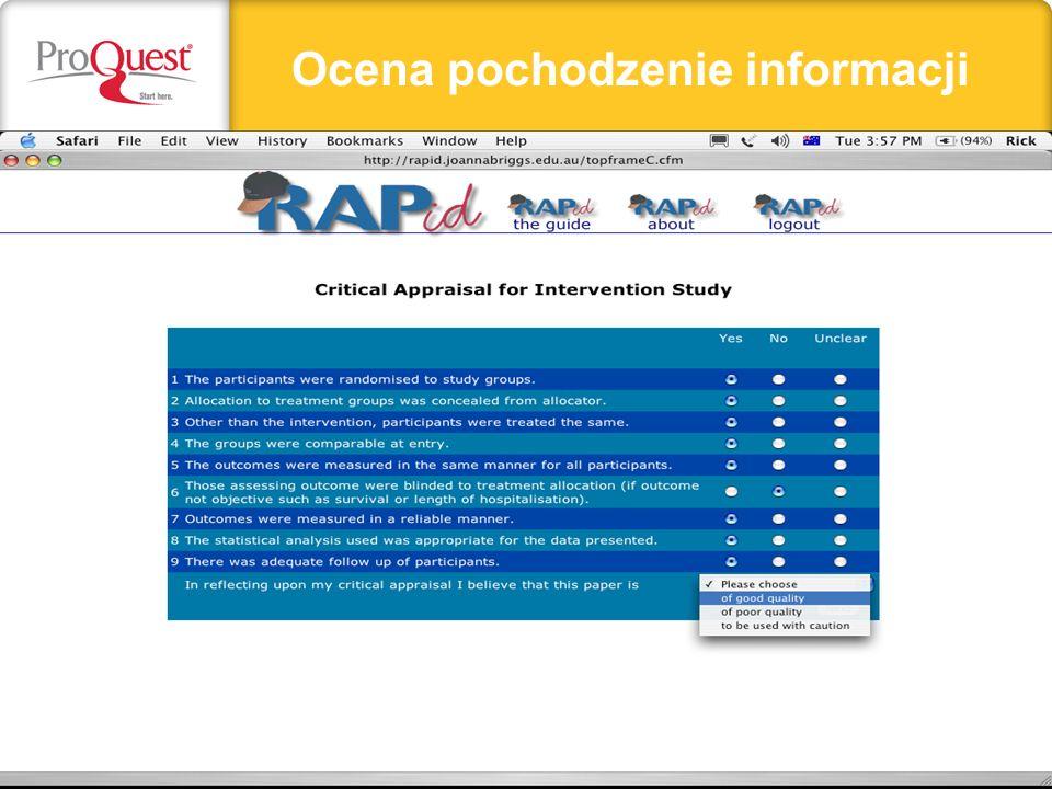 Ocena pochodzenie informacji
