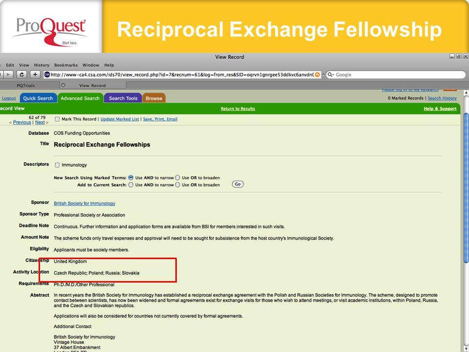Reciprocal Exchange Fellowship