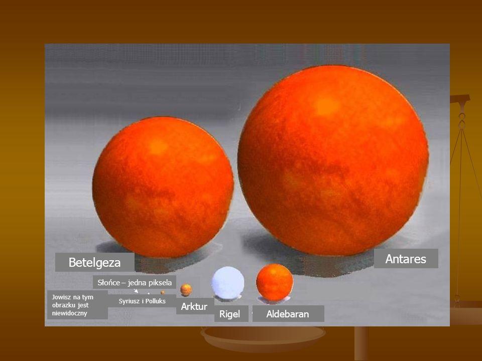 Antares AldebaranRigel Betelgeza Arktur Słońce – jedna piksela Syriusz i Polluks Jowisz na tym obrazku jest niewidoczny