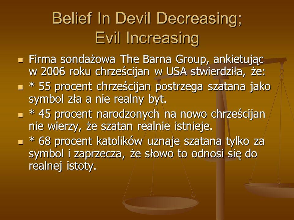 Belief In Devil Decreasing; Evil Increasing Firma sondażowa The Barna Group, ankietując w 2006 roku chrześcijan w USA stwierdziła, że: Firma sondażowa