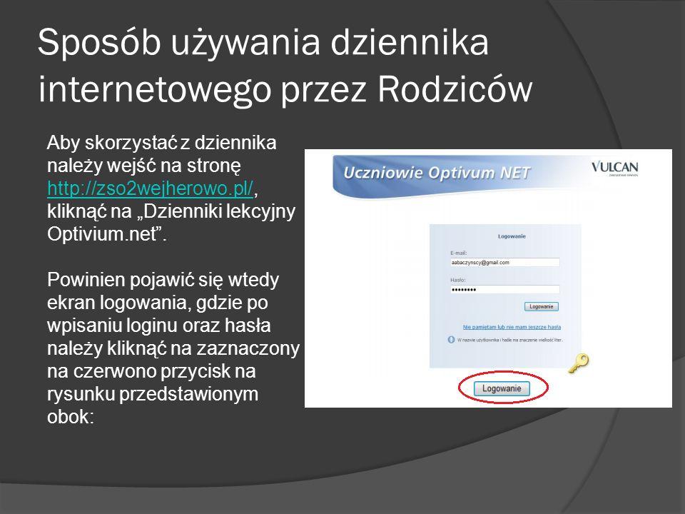 Sposób używania dziennika internetowego przez Rodziców Aby skorzystać z dziennika należy wejść na stronę http://zso2wejherowo.pl/, kliknąć na Dzienniki lekcyjny Optivium.net.