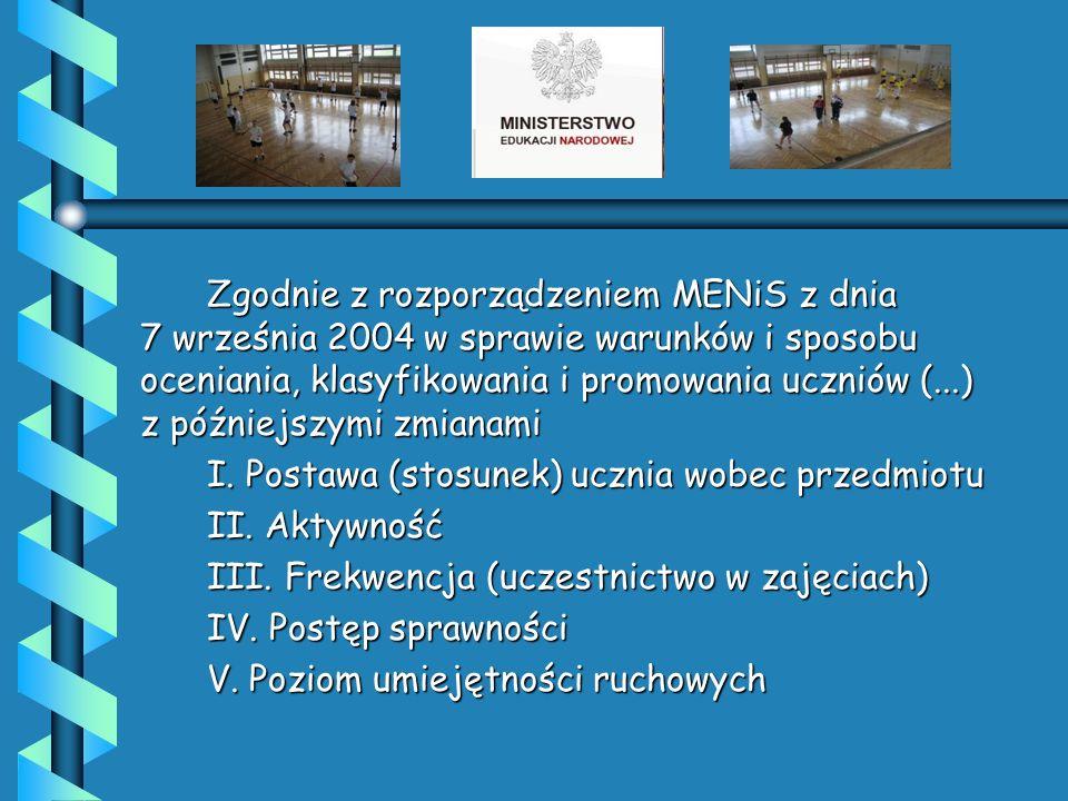 Zgodnie z rozporządzeniem MENiS z dnia 7 września 2004 w sprawie warunków i sposobu oceniania, klasyfikowania i promowania uczniów (...) z późniejszymi zmianami I.