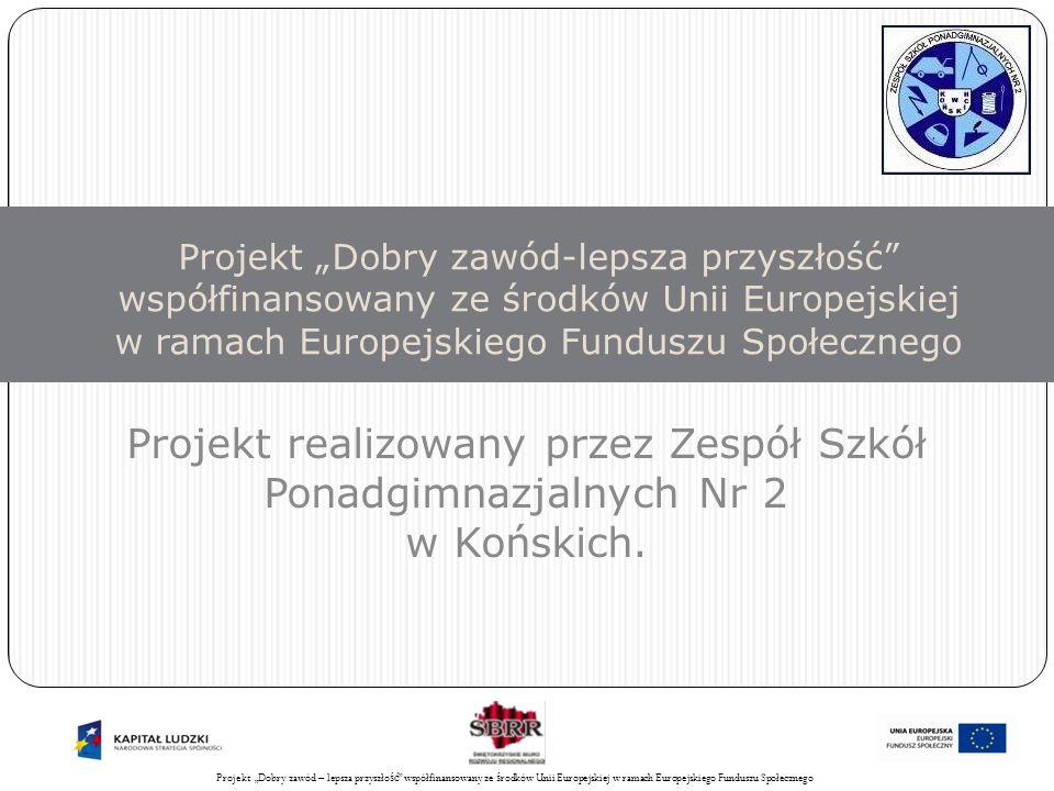 Projekt Świadomy obywatel współfinansowany ze środków Unii Europejskiej w ramach Europejskiego Funduszu Społecznego 2 Projekt Dobry zawód – lepsza przyszłość projekt konkursowy w ramach: Programu Operacyjnego Kapitał Ludzki, Priorytet IX.
