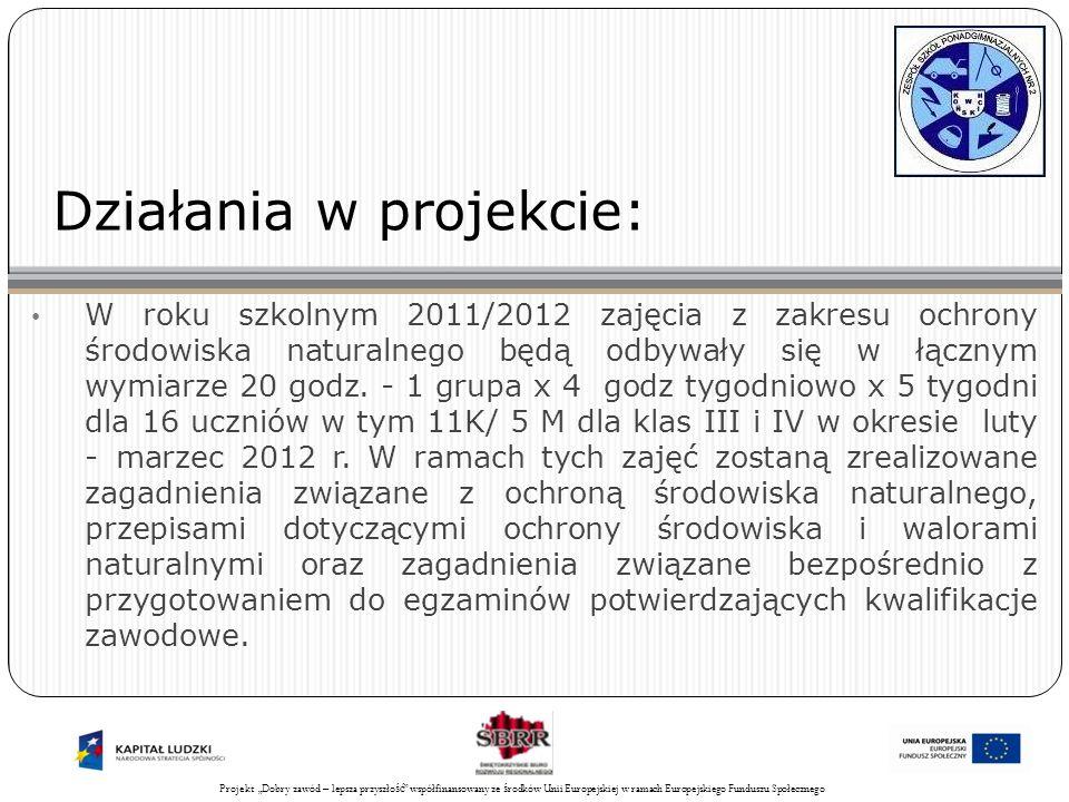 Projekt Świadomy obywatel współfinansowany ze środków Unii Europejskiej w ramach Europejskiego Funduszu Społecznego 23 Działania w projekcie: W roku szkolnym 2011/2012 zajęcia z zakresu ochrony środowiska naturalnego będą odbywały się w łącznym wymiarze 20 godz.