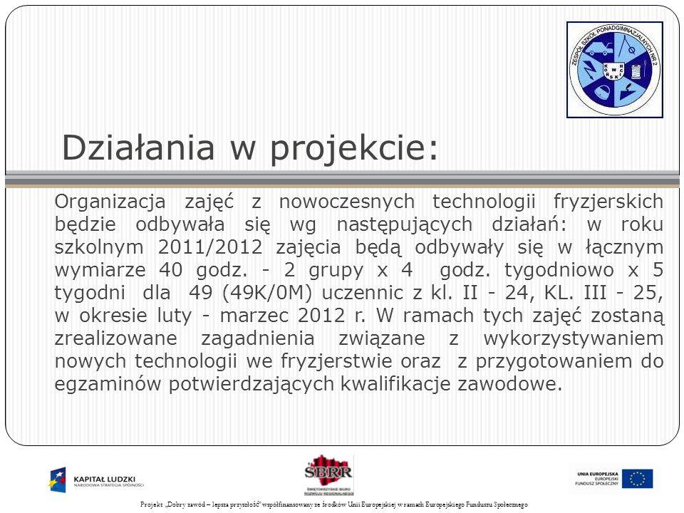 Projekt Świadomy obywatel współfinansowany ze środków Unii Europejskiej w ramach Europejskiego Funduszu Społecznego 25 Działania w projekcie: Organizacja zajęć z nowoczesnych technologii fryzjerskich będzie odbywała się wg następujących działań: w roku szkolnym 2011/2012 zajęcia będą odbywały się w łącznym wymiarze 40 godz.