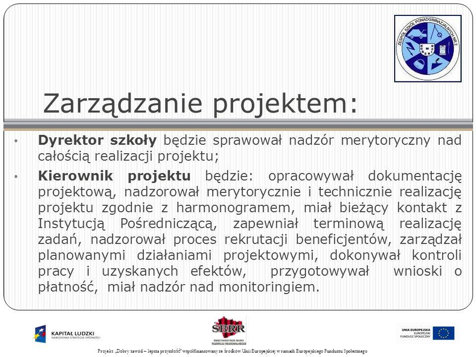 Projekt Świadomy obywatel współfinansowany ze środków Unii Europejskiej w ramach Europejskiego Funduszu Społecznego 32 Zarządzanie projektem: Dyrektor szkoły będzie sprawował nadzór merytoryczny nad całością realizacji projektu; Kierownik projektu będzie: opracowywał dokumentację projektową, nadzorował merytorycznie i technicznie realizację projektu zgodnie z harmonogramem, miał bieżący kontakt z Instytucją Pośredniczącą, zapewniał terminową realizację zadań, nadzorował proces rekrutacji beneficjentów, zarządzał planowanymi działaniami projektowymi, dokonywał kontroli pracy i uzyskanych efektów, przygotowywał wnioski o płatność, miał nadzór nad monitoringiem.
