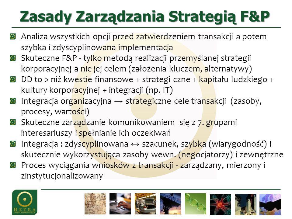 Zasady Zarządzania Strategią F&P Analiza wszystkich opcji przed zatwierdzeniem transakcji a potem szybka i zdyscyplinowana implementacja Skuteczne F&P