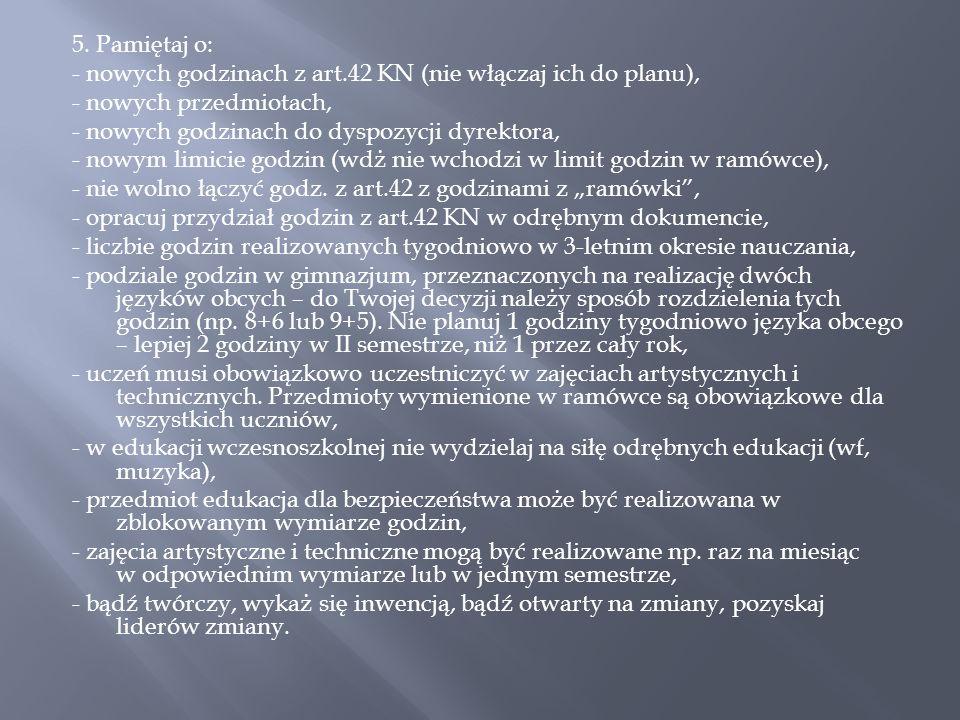 5. Pamiętaj o: - nowych godzinach z art.42 KN (nie włączaj ich do planu), - nowych przedmiotach, - nowych godzinach do dyspozycji dyrektora, - nowym l