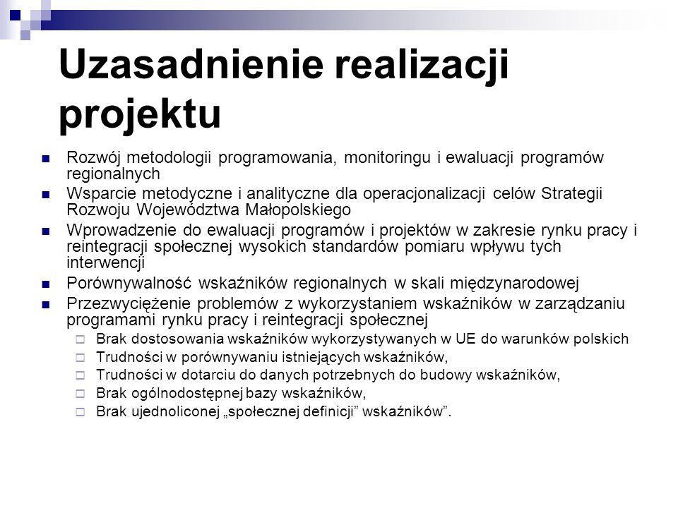 Uzasadnienie realizacji projektu Rozwój metodologii programowania, monitoringu i ewaluacji programów regionalnych Wsparcie metodyczne i analityczne dla operacjonalizacji celów Strategii Rozwoju Województwa Małopolskiego Wprowadzenie do ewaluacji programów i projektów w zakresie rynku pracy i reintegracji społecznej wysokich standardów pomiaru wpływu tych interwencji Porównywalność wskaźników regionalnych w skali międzynarodowej Przezwyciężenie problemów z wykorzystaniem wskaźników w zarządzaniu programami rynku pracy i reintegracji społecznej Brak dostosowania wskaźników wykorzystywanych w UE do warunków polskich Trudności w porównywaniu istniejących wskaźników, Trudności w dotarciu do danych potrzebnych do budowy wskaźników, Brak ogólnodostępnej bazy wskaźników, Brak ujednoliconej społecznej definicji wskaźników.