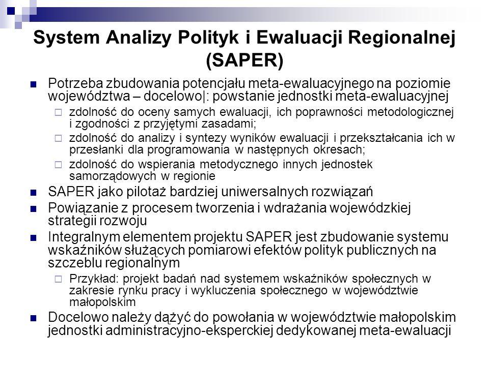 System Analizy Polityk i Ewaluacji Regionalnej (SAPER) Potrzeba zbudowania potencjału meta-ewaluacyjnego na poziomie województwa – docelowo|: powstanie jednostki meta-ewaluacyjnej zdolność do oceny samych ewaluacji, ich poprawności metodologicznej i zgodności z przyjętymi zasadami; zdolność do analizy i syntezy wyników ewaluacji i przekształcania ich w przesłanki dla programowania w następnych okresach; zdolność do wspierania metodycznego innych jednostek samorządowych w regionie SAPER jako pilotaż bardziej uniwersalnych rozwiązań Powiązanie z procesem tworzenia i wdrażania wojewódzkiej strategii rozwoju Integralnym elementem projektu SAPER jest zbudowanie systemu wskaźników służących pomiarowi efektów polityk publicznych na szczeblu regionalnym Przykład: projekt badań nad systemem wskaźników społecznych w zakresie rynku pracy i wykluczenia społecznego w województwie małopolskim Docelowo należy dążyć do powołania w województwie małopolskim jednostki administracyjno-eksperckiej dedykowanej meta-ewaluacji
