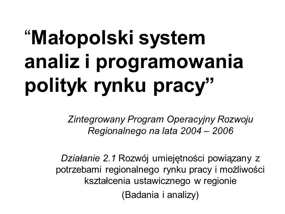 Małopolski system analiz i programowania polityk rynku pracy Zintegrowany Program Operacyjny Rozwoju Regionalnego na lata 2004 – 2006 Działanie 2.1 Rozwój umiejętności powiązany z potrzebami regionalnego rynku pracy i możliwości kształcenia ustawicznego w regionie (Badania i analizy)