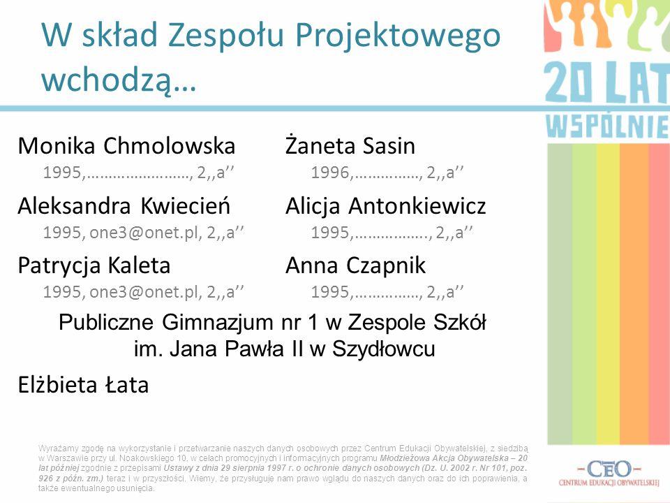 Monika ChmolowskaŻaneta Sasin 1995,……………………, 2,,a 1996,……………, 2,,a Aleksandra KwiecieńAlicja Antonkiewicz 1995, one3@onet.pl, 2,,a 1995,…………….., 2,,a