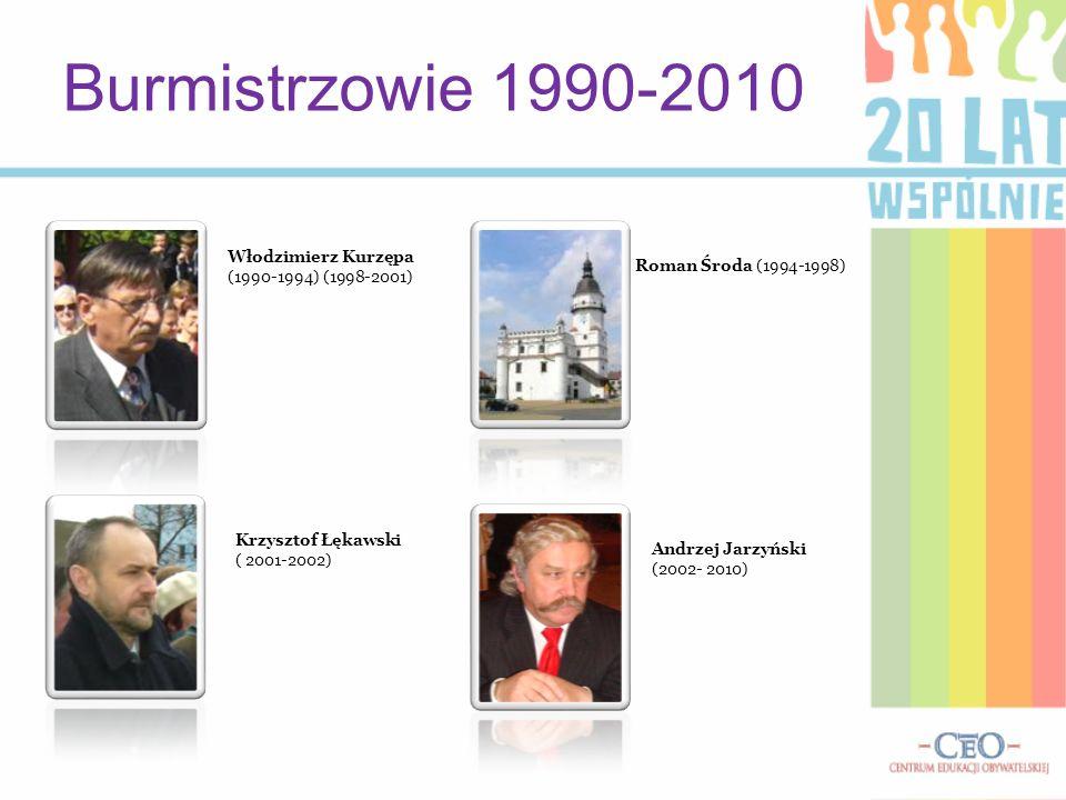 Burmistrzowie 1990-2010 Włodzimierz Kurzępa (1990-1994) (1998-2001) Krzysztof Łękawski ( 2001-2002) Roman Środa (1994-1998) Andrzej Jarzyński (2002- 2
