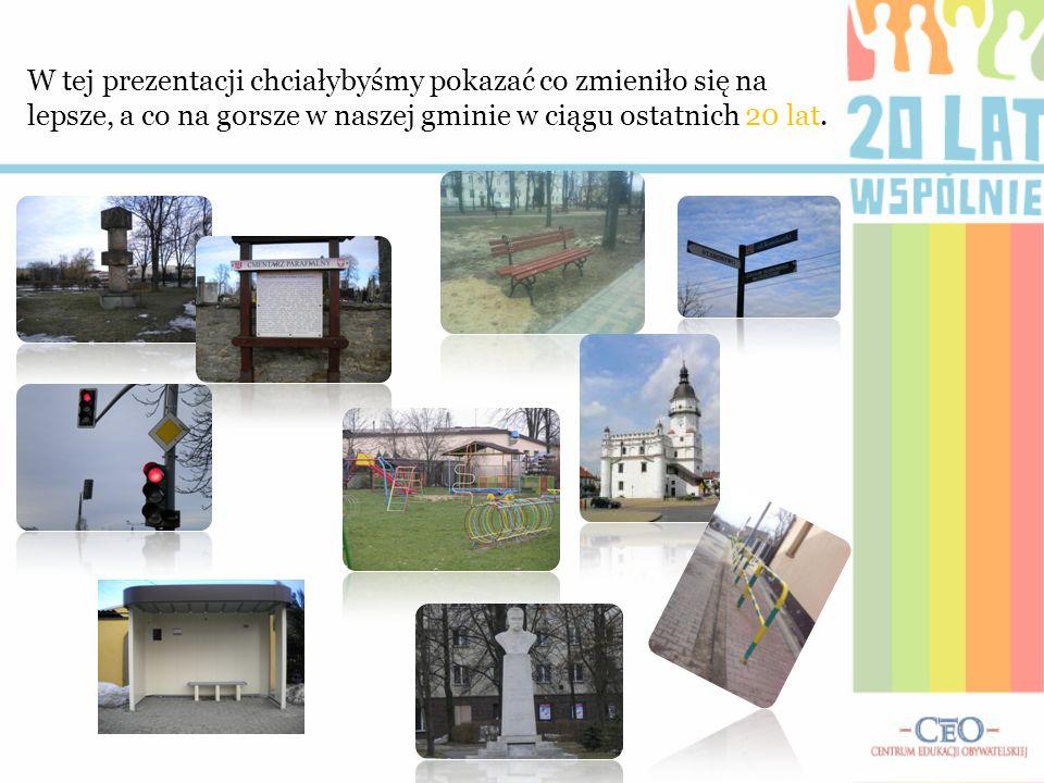 W tej prezentacji chciałybyśmy pokazać co zmieniło się na lepsze, a co na gorsze w naszej gminie w ciągu ostatnich 20 lat.
