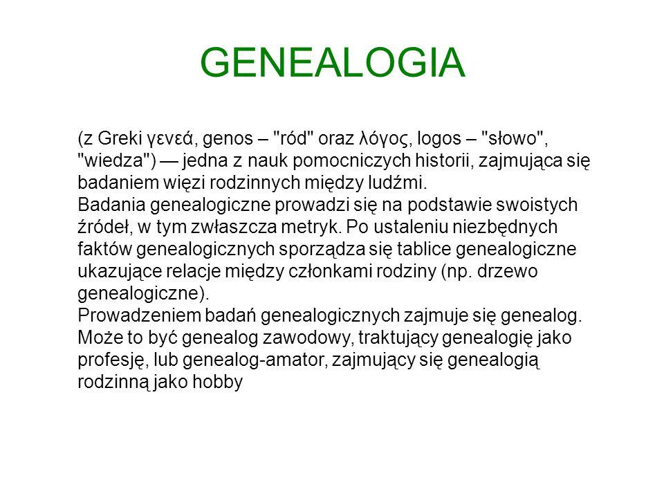 GENEALOGIA (z Greki γενεά, genos –
