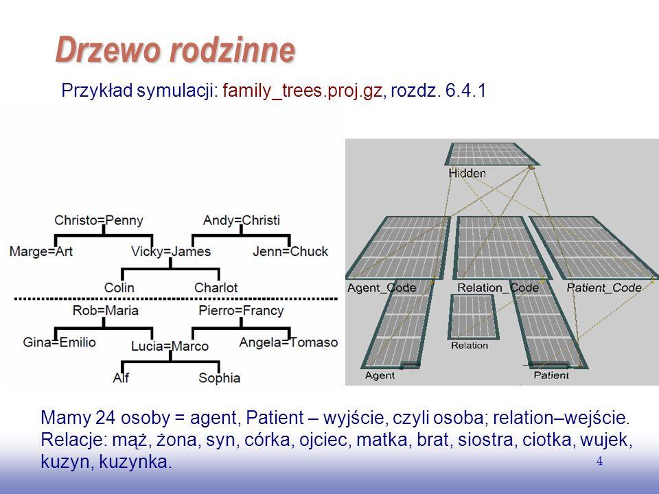 EE141 4 Drzewo rodzinne Przykład symulacji: family_trees.proj.gz, rozdz. 6.4.1 Mamy 24 osoby = agent, Patient – wyjście, czyli osoba; relation–wejście
