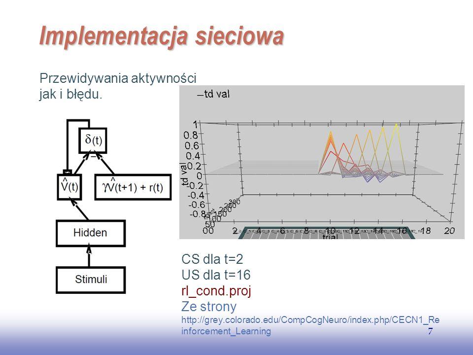 EE141 7 Implementacja sieciowa Przewidywania aktywności jak i błędu. CS dla t=2 US dla t=16 rl_cond.proj Ze strony http://grey.colorado.edu/CompCogNeu