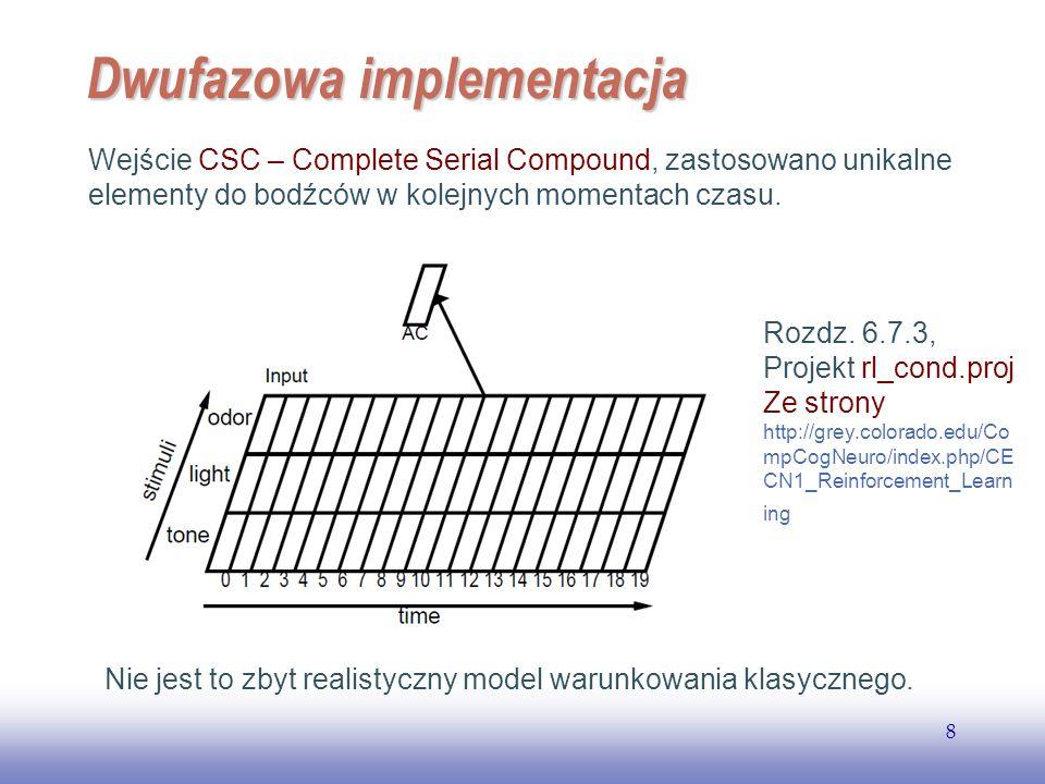 EE141 8 Dwufazowa implementacja Wejście CSC – Complete Serial Compound, zastosowano unikalne elementy do bodźców w kolejnych momentach czasu. Nie jest