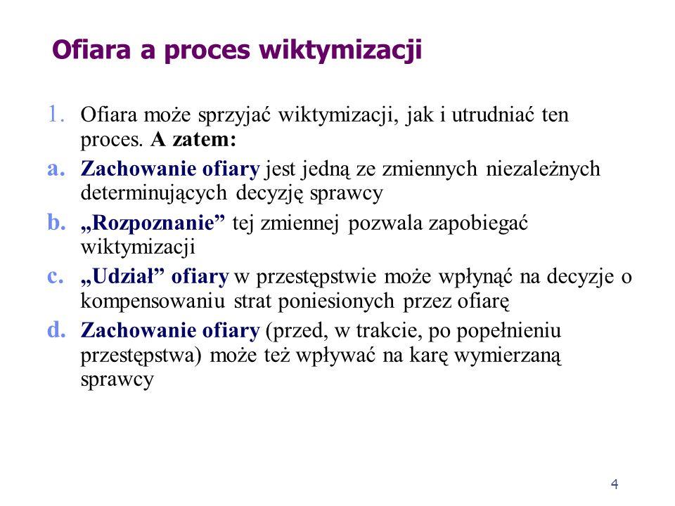 4 Ofiara a proces wiktymizacji 1. Ofiara może sprzyjać wiktymizacji, jak i utrudniać ten proces. A zatem: a. Zachowanie ofiary jest jedną ze zmiennych