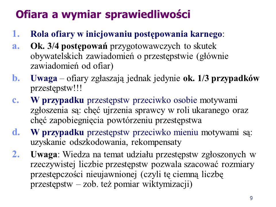 9 1. Rola ofiary w inicjowaniu postępowania karnego: a. Ok. 3/4 postępowań przygotowawczych to skutek obywatelskich zawiadomień o przestępstwie (główn