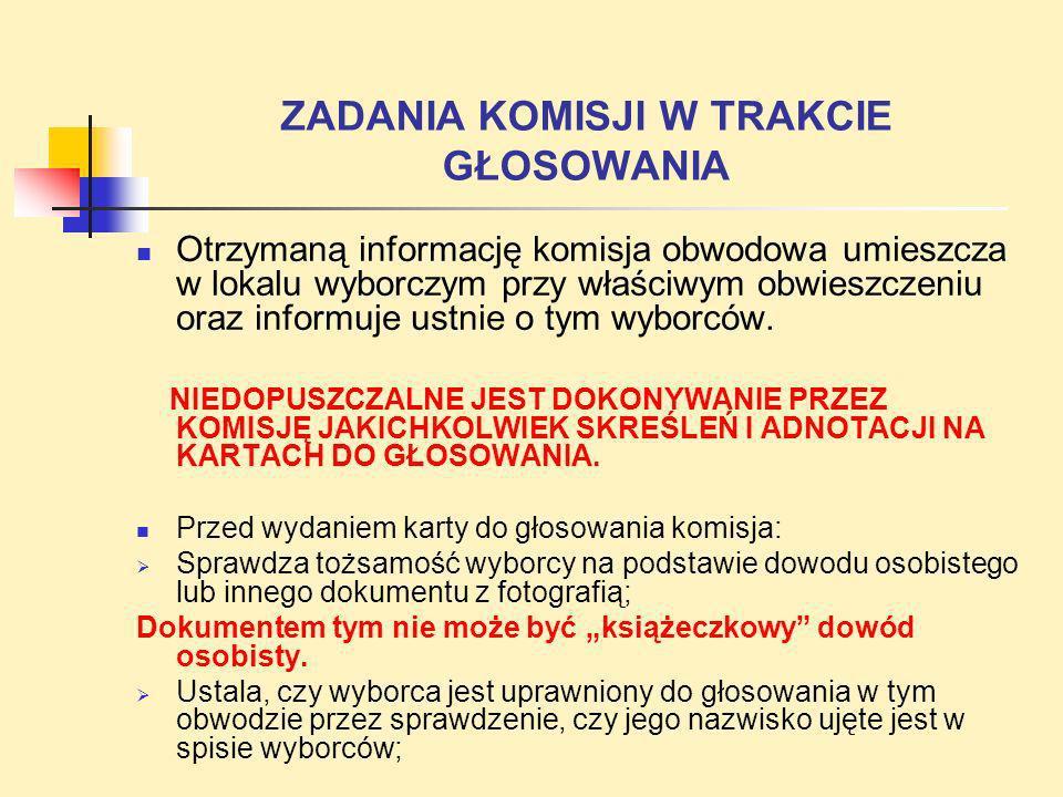 ZADANIA KOMISJI W TRAKCIE GŁOSOWANIA Otrzymaną informację komisja obwodowa umieszcza w lokalu wyborczym przy właściwym obwieszczeniu oraz informuje us