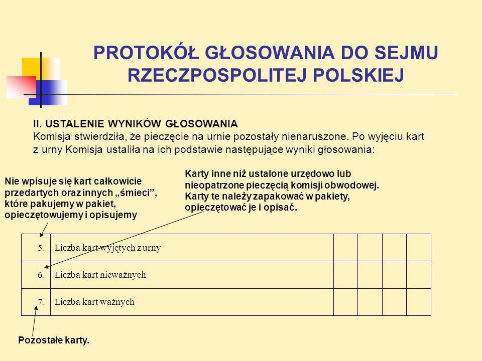 PROTOKÓŁ GŁOSOWANIA DO SEJMU RZECZPOSPOLITEJ POLSKIEJ II. USTALENIE WYNIKÓW GŁOSOWANIA Komisja stwierdziła, że pieczęcie na urnie pozostały nienaruszo