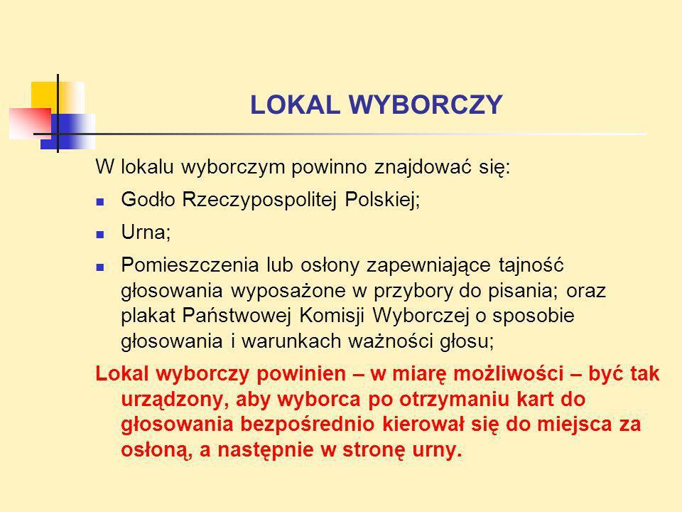 LOKAL WYBORCZY W lokalu wyborczym powinno znajdować się: Godło Rzeczypospolitej Polskiej; Urna; Pomieszczenia lub osłony zapewniające tajność głosowan
