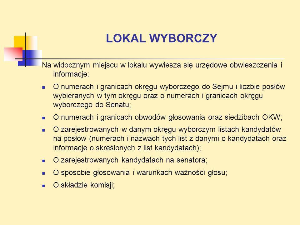 LOKAL WYBORCZY Na widocznym miejscu w lokalu wywiesza się urzędowe obwieszczenia i informacje: O numerach i granicach okręgu wyborczego do Sejmu i lic