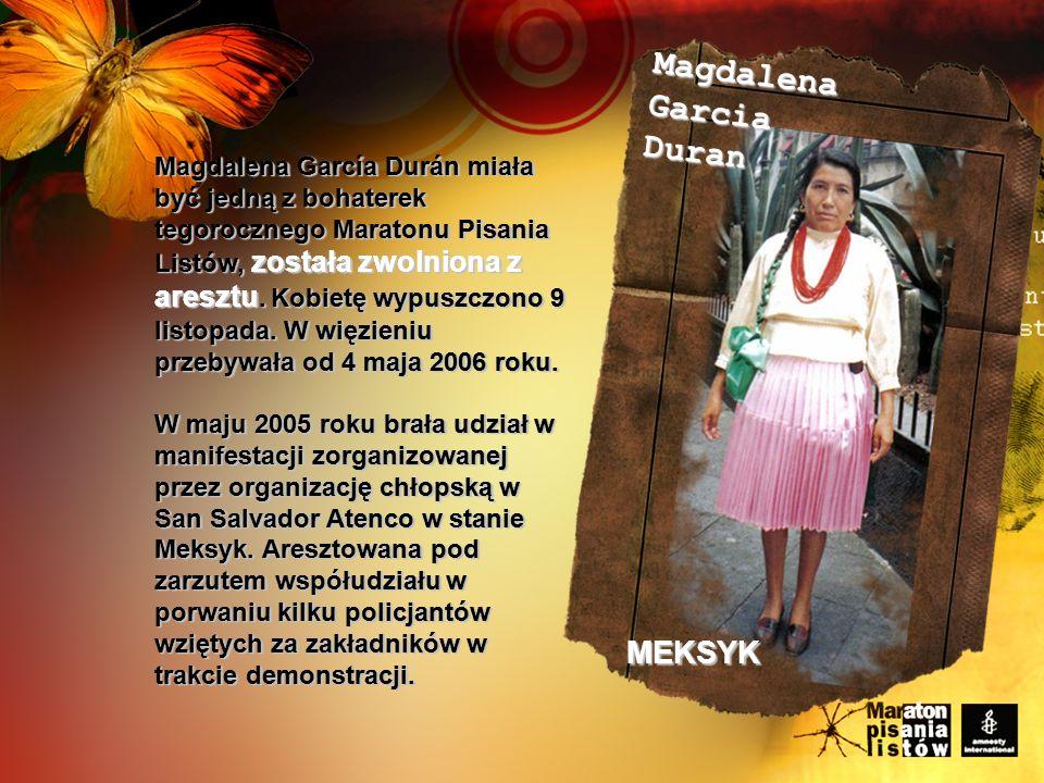 Magdalena García Durán miała być jedną z bohaterek tegorocznego Maratonu Pisania Listów, została zwolniona z aresztu.