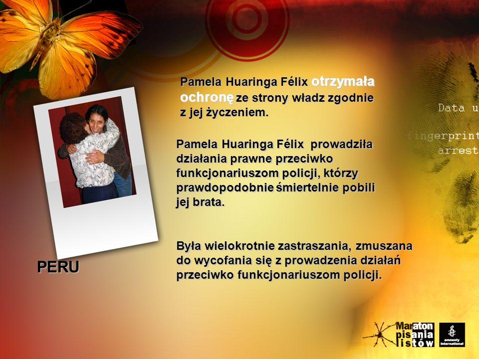 Pamela Huaringa Félix otrzymała ochronę ze strony władz zgodnie z jej życzeniem.