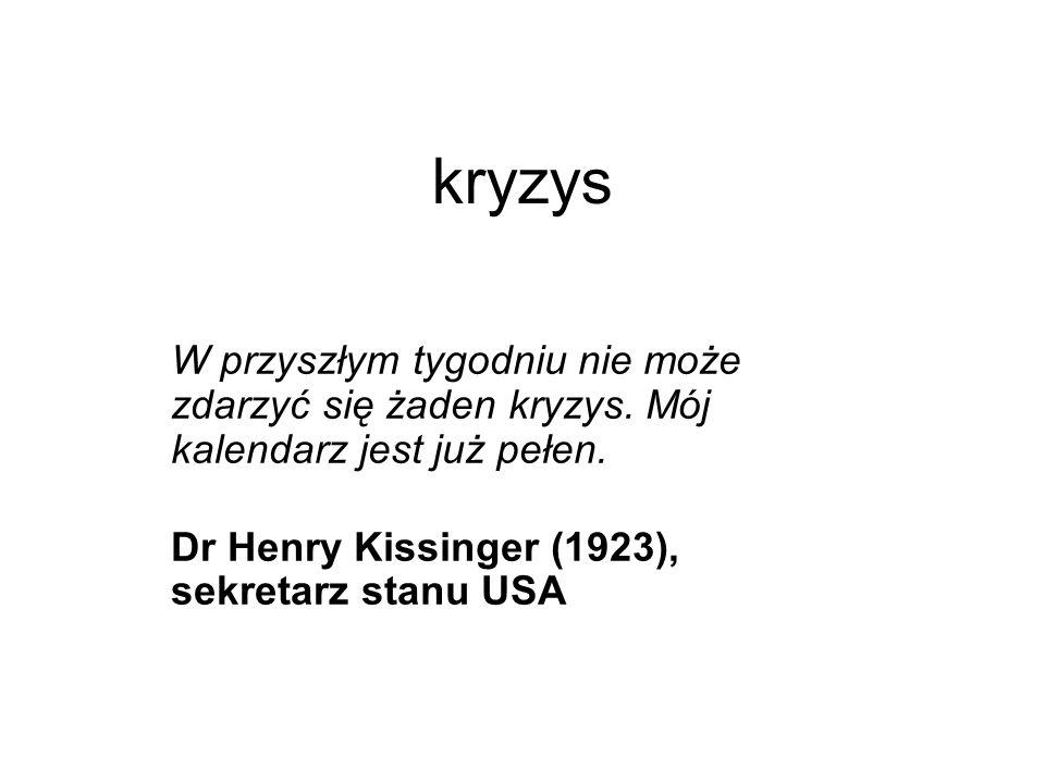 kryzys W przyszłym tygodniu nie może zdarzyć się żaden kryzys. Mój kalendarz jest już pełen. Dr Henry Kissinger (1923), sekretarz stanu USA