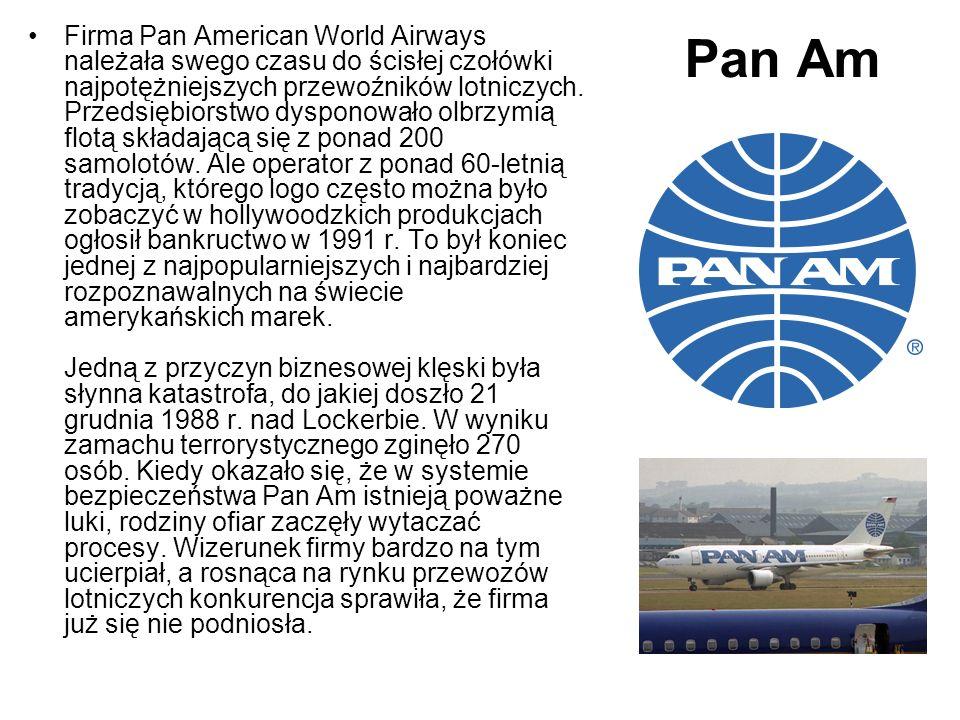 Pan Am Firma Pan American World Airways należała swego czasu do ścisłej czołówki najpotężniejszych przewoźników lotniczych. Przedsiębiorstwo dysponowa