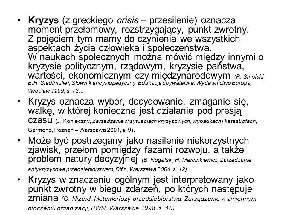 Kryzys (z greckiego crisis – przesilenie) oznacza moment przełomowy, rozstrzygający, punkt zwrotny. Z pojęciem tym mamy do czynienia we wszystkich asp