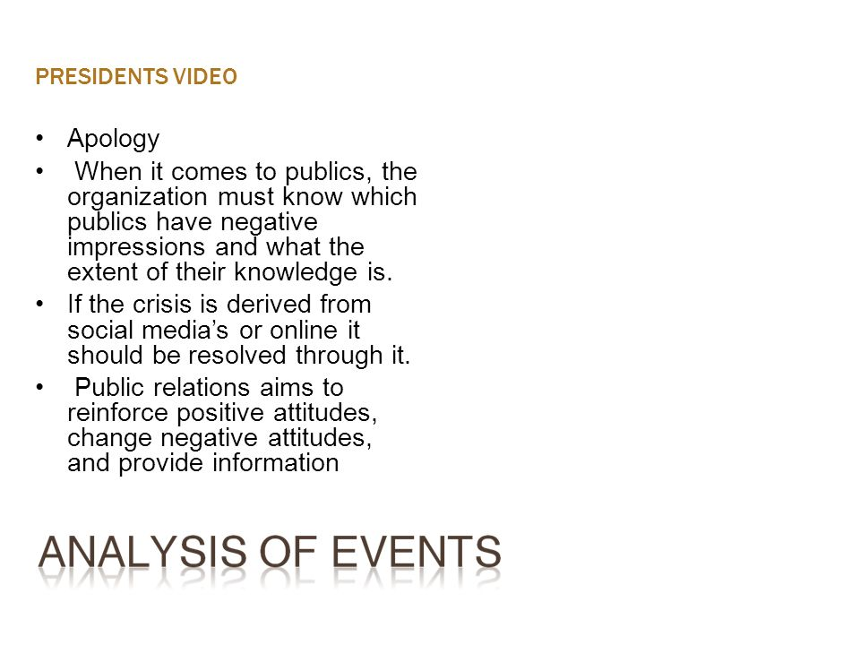 PRESIDENTS VIDEO Apology When it comes to publics, the organization must know which publics have negative impressions and what the extent of their kno