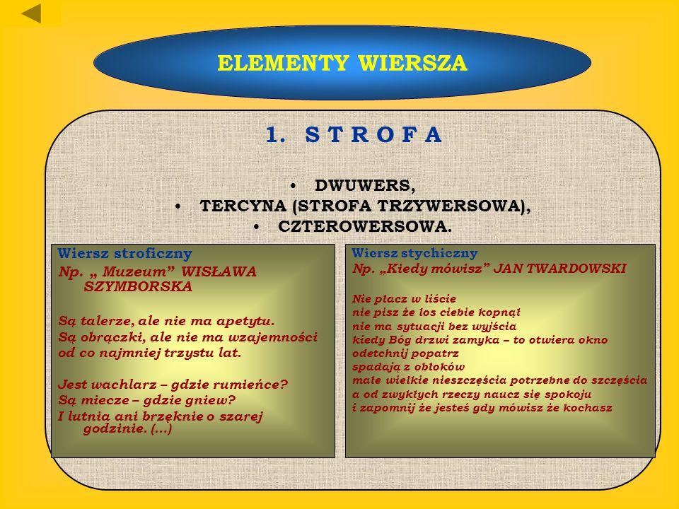 ELEMENTY WIERSZA 1. S T R O F A DWUWERS, TERCYNA (STROFA TRZYWERSOWA), CZTEROWERSOWA. Wiersz stroficzny Np. Muzeum WISŁAWA SZYMBORSKA Są talerze, ale