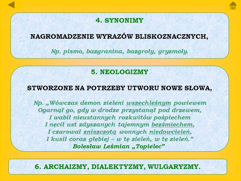 4.SYNONIMY NAGROMADZENIE WYRAZÓW BLISKOZNACZNYCH, Np. pismo, bazgranina, bazgroły, gryzmoły. 5.NEOLOGIZMY STWORZONE NA POTRZEBY UTWORU NOWE SŁOWA, Np.