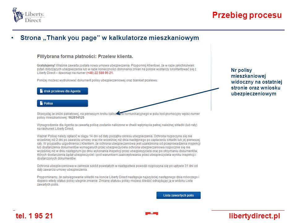 tel. 1 95 21libertydirect.pl Przebieg procesu Strona Thank you page w kalkulatorze mieszkaniowym Nr polisy mieszkaniowej widoczny na ostatniej stronie