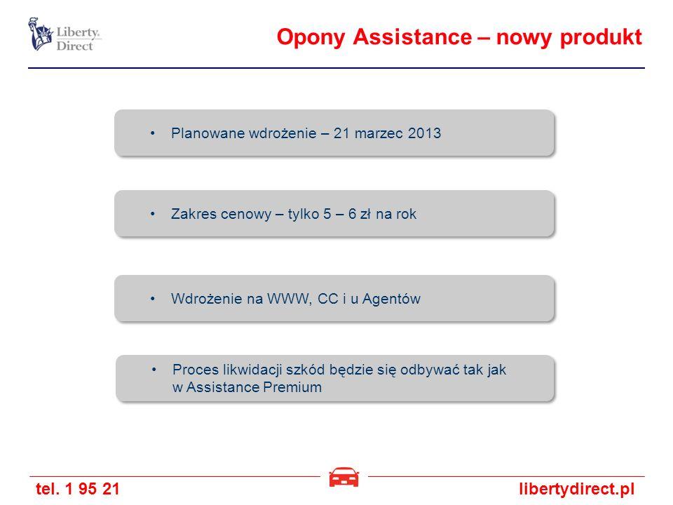 tel. 1 95 21libertydirect.pl Opony Assistance – nowy produkt Planowane wdrożenie – 21 marzec 2013 Zakres cenowy – tylko 5 – 6 zł na rok Wdrożenie na W