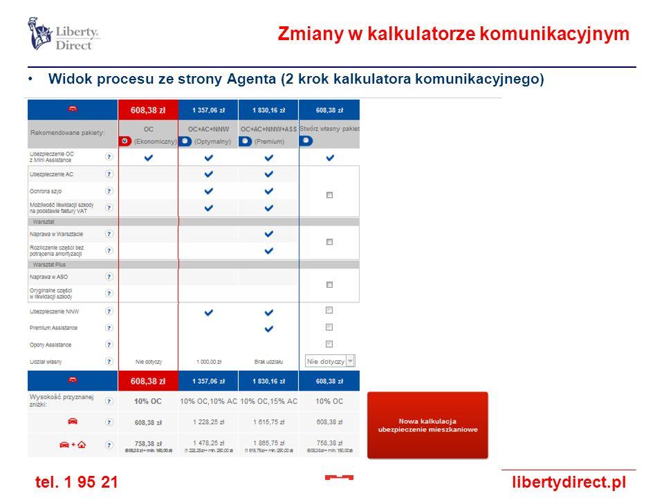 tel. 1 95 21libertydirect.pl Zmiany w kalkulatorze komunikacyjnym Widok procesu ze strony Agenta (2 krok kalkulatora komunikacyjnego)