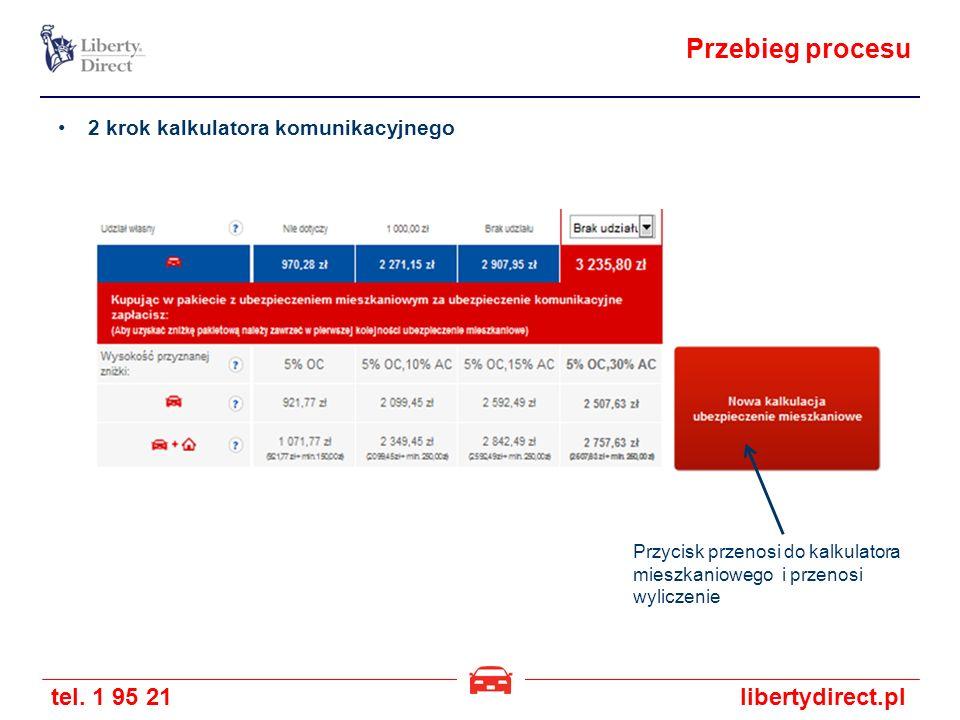 tel. 1 95 21libertydirect.pl Przebieg procesu 2 krok kalkulatora komunikacyjnego Przycisk przenosi do kalkulatora mieszkaniowego i przenosi wyliczenie