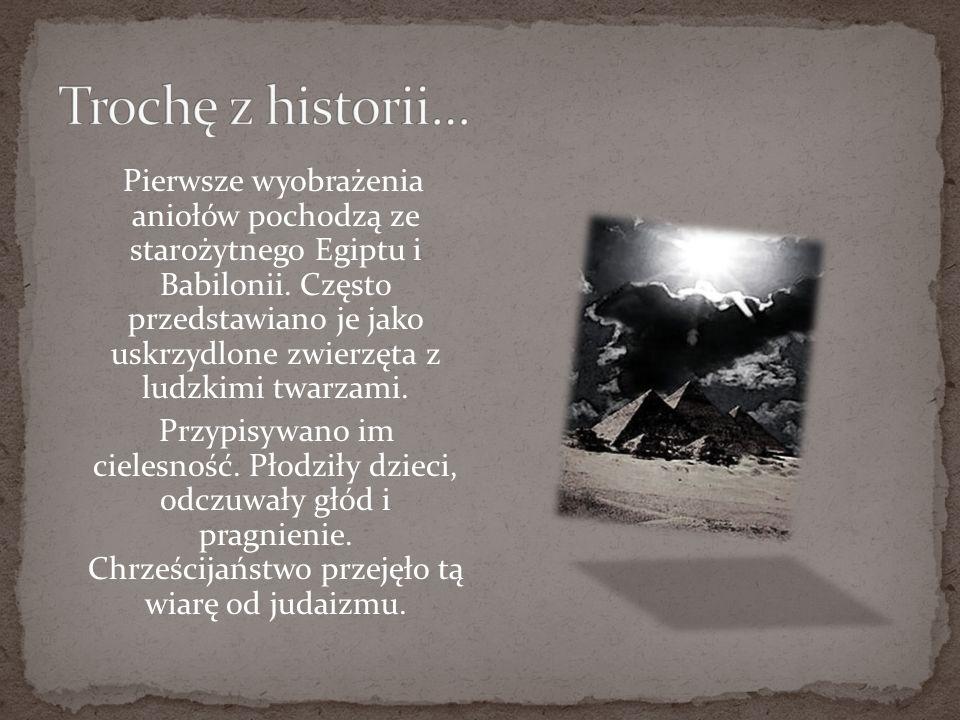 Pierwsze wyobrażenia aniołów pochodzą ze starożytnego Egiptu i Babilonii. Często przedstawiano je jako uskrzydlone zwierzęta z ludzkimi twarzami. Przy