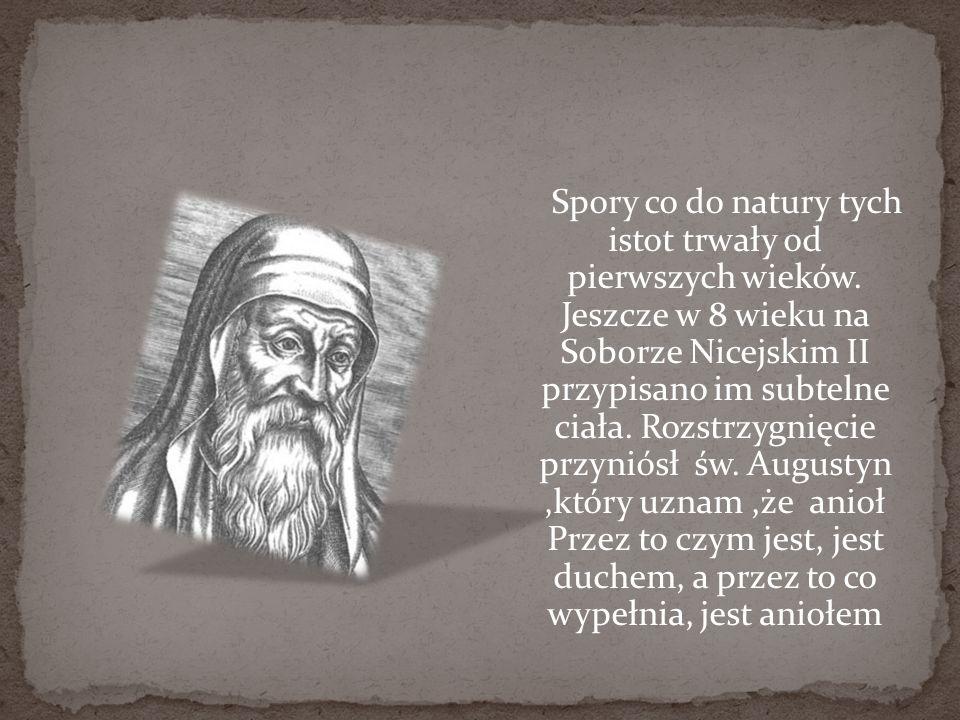 Spory co do natury tych istot trwały od pierwszych wieków. Jeszcze w 8 wieku na Soborze Nicejskim II przypisano im subtelne ciała. Rozstrzygnięcie prz