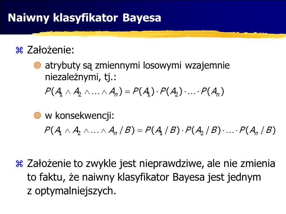 Naiwny klasyfikator Bayesa Założenie: atrybuty są zmiennymi losowymi wzajemnie niezależnymi, tj.: w konsekwencji: Założenie to zwykle jest nieprawdziw