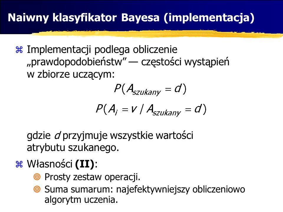 Naiwny klasyfikator Bayesa (implementacja) Implementacji podlega obliczenie prawdopodobieństw częstości wystąpień w zbiorze uczącym: gdzie d przyjmuje